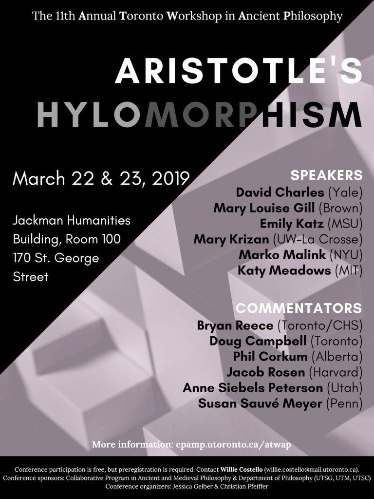 ATWAP 2019: Aristotle's Hylomorphism
